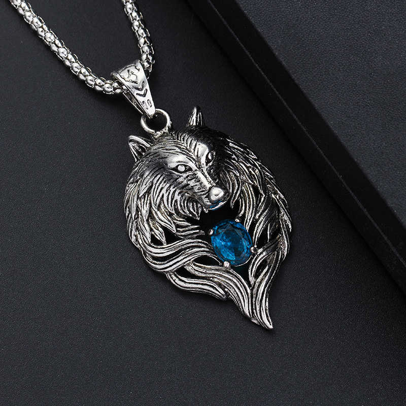 Wolf Head Necklace For Men Women Pendant Erkek Kolye Biker Cool Jewelry Animal Charm Wholesale Vintage Punk Gift Freeshipping