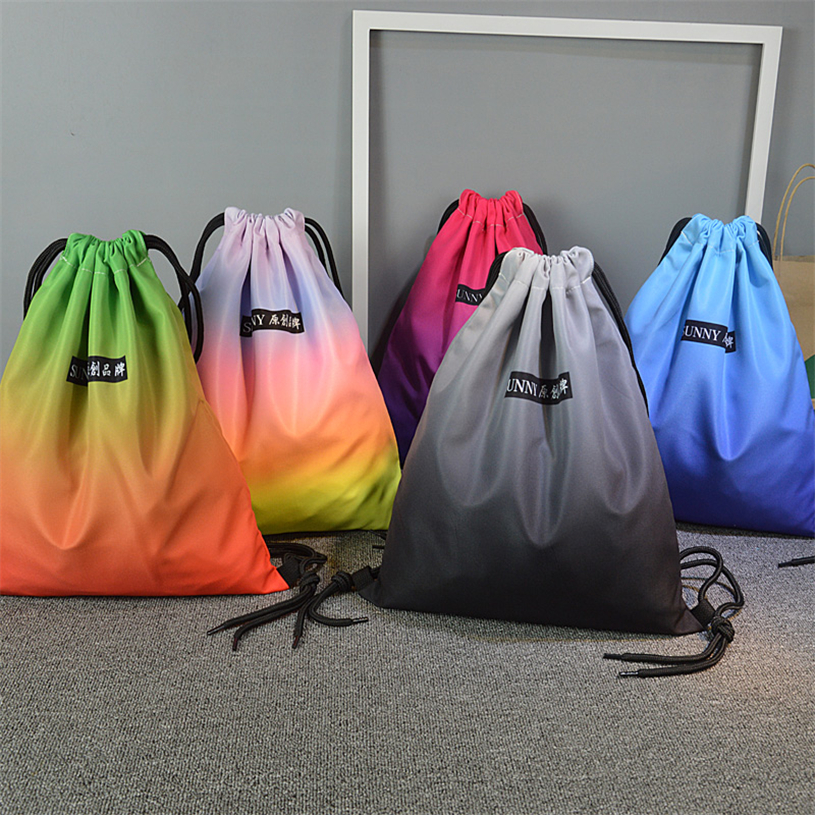 Size 40 * 33 waterproof nylon outdoor running bag drawstring fabric bags with multicolor easy carry for youth for camping