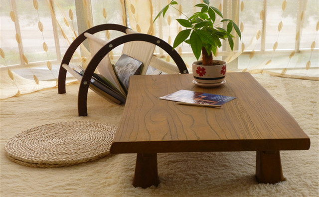 Solid Elm Wood Low Table Antique Finish Rectangular 80cm Living Room Furniture Oriental Sofa Vintage