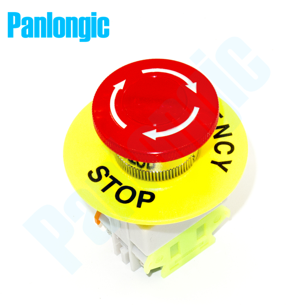 Emergency Stop Switch Push Button Switch Mushroom Pushbutton Switches NO/NC Auto Lock with 60mm OD 22mm ID Emergency Stop Ring