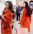 2016 outono inverno tamanho grande casaco de lã das mulheres médio e longo casaco de lã mohair imitado com cós orange