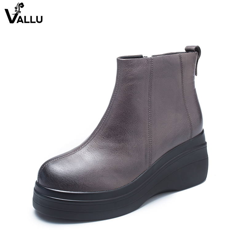 Natural Leather Women Wedge Booties Factory Latest Design Lady High Platform Boots Low Cut Ankle Female Leisure Solid Shoes