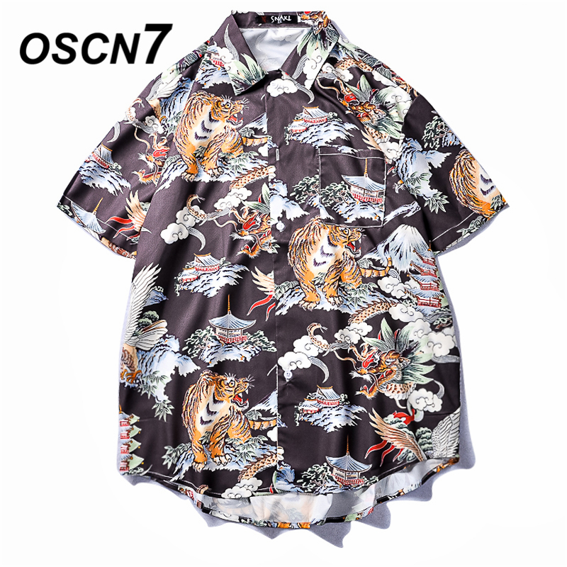 OSCN7 Printed Shirts Men Street Short Sleeve 2019 Summer Fashion Beach Mens Shirt Loose Casual Korea Chemise Homme 662