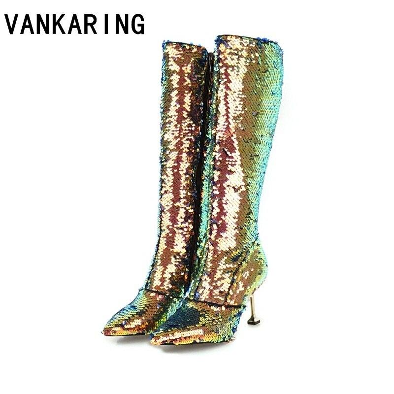 Ayakk.'ten Diz Hizası Çizmeler'de VANKARING Cadılar Bayramı kostümleri altın gümüş bayanlar motosiklet botları kadın diz yüksek topuk çizmeler süslü elbise ayakkabı kış çizmeler kadın'da  Grup 1