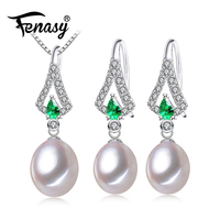 FENASY Trang Sức Ngọc Trai Sets, Ngọc Trai Mặt Dây Chuyền Vòng Cổ Earrings Đối Với Phụ Nữ, tốt engagement ring Lá Emerald leaf big earrings set
