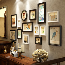 2018 European Retro Style Wall Hanging Photo Frames Set 14pcs /set Wooden Picture Frames Photo Frames Combination For Home Decor