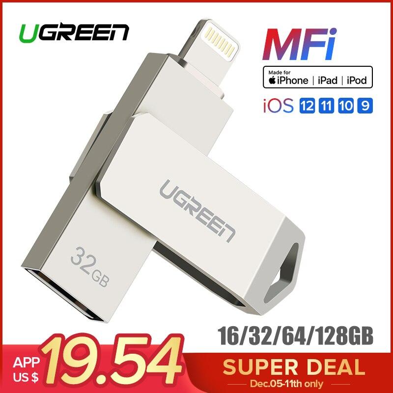 Ugreen USB Flash Drive USB Pendrive voor iPhone Xs Max X 8 7 6 iPad 16/32/64 /128 gb Memory Stick USB Key MFi Lightning Pen drive