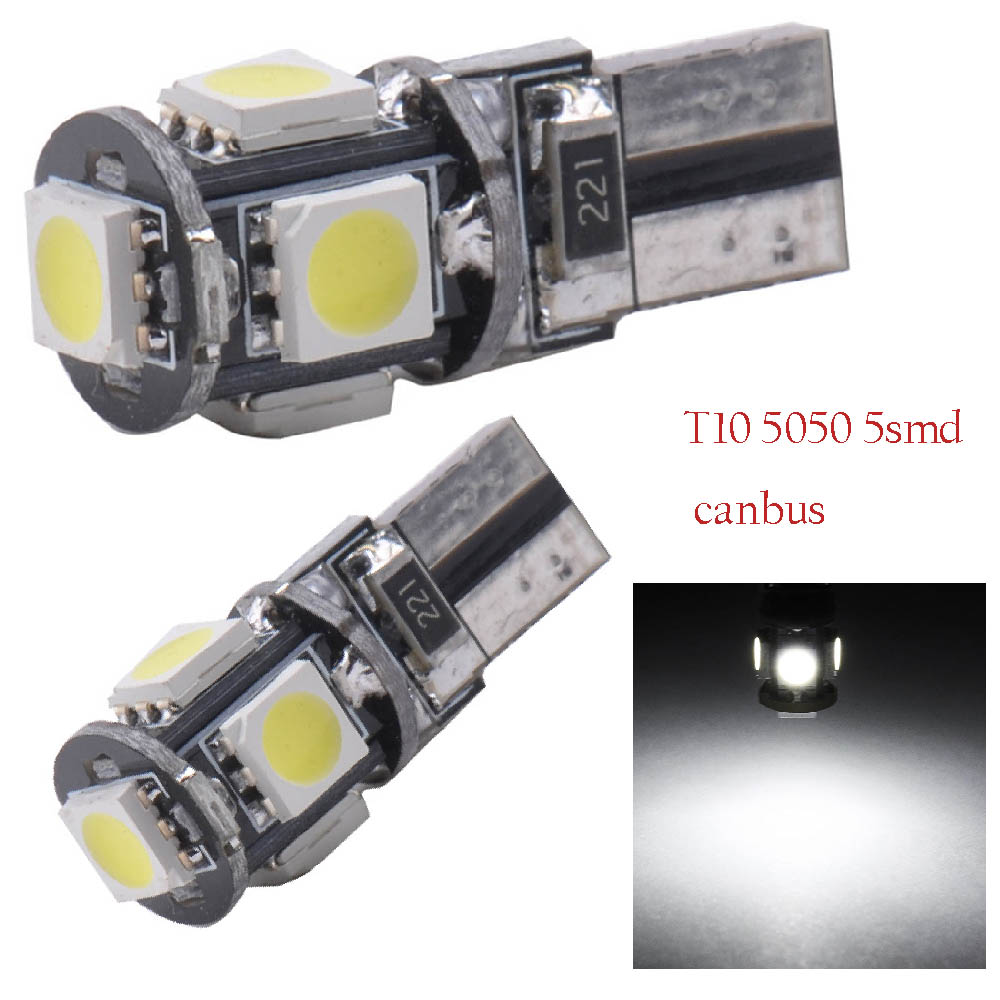 YSY 10pcs Canbus T10 5smd 5050 LED car led Light Canbus W5W 194 T10 5LED Error Free White Light Bulbs t10 led no error auto lamp high t10 canbus 10pcs t10 w5w 194 168 5630 10 smd can bus error free 10 led interior led lights white 6000k canbus 300lm