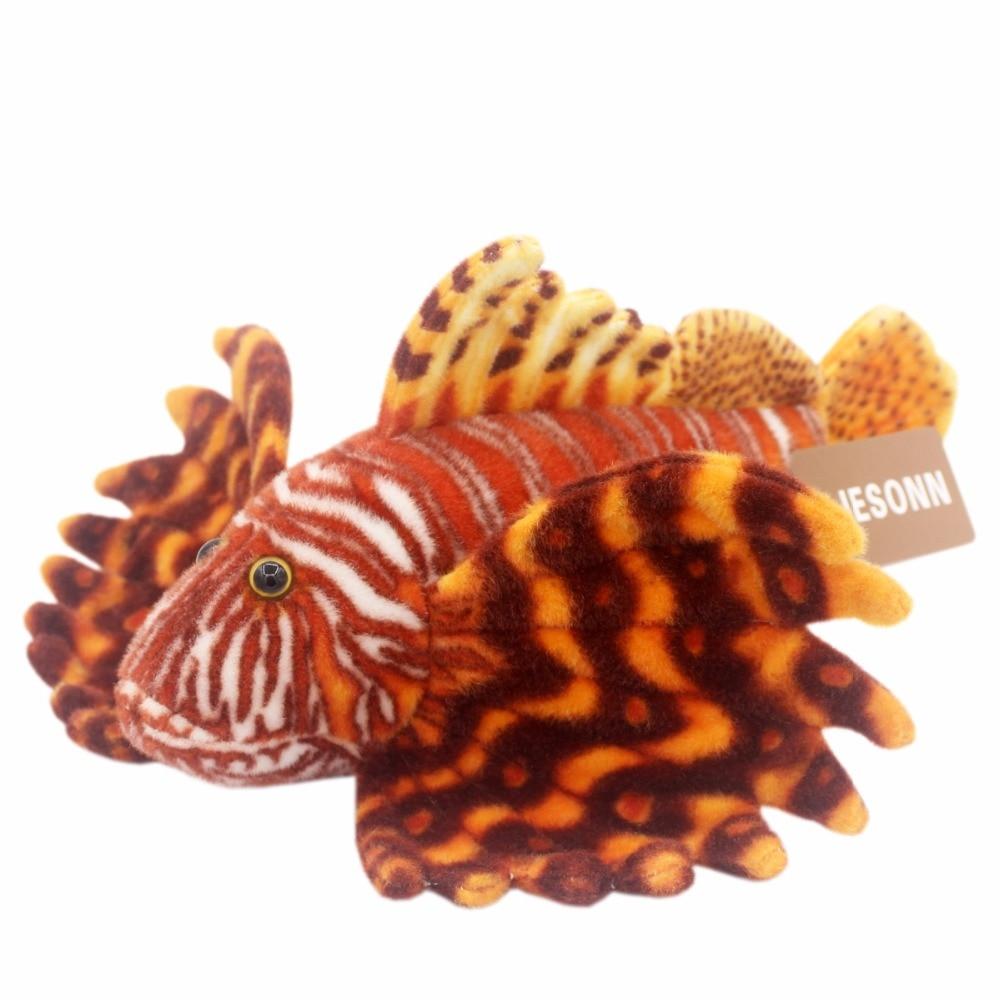 JESONN reális töltött csigahalas állatok plüss lionfish játékok gyermek születésnapi ajándékok, 35 CM