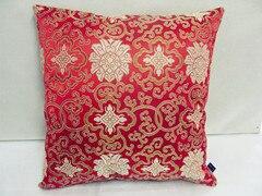 Винтажная квадратная большая подушка для дивана, стула, автомобиля, Высококачественная декоративная шелковая парчовая Подушка для спины 40x40 43x43 40x50 50x50 60x60 см - Цвет: Красный