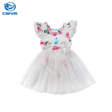 Kids Baby Girls Clothing Sleeveless Ruffle Floral Bowknot Bodysuit Romper+Tulle Skirts Tutu Party 2pcs Set Outfits Clothes 0-3T
