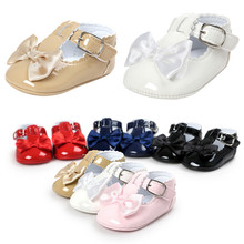 Baby shoes Romirus brand new PU leather girl boy First Walkers shoes Soft Bottom Non-slip Fashion bowknot Bebe Shoes bx314