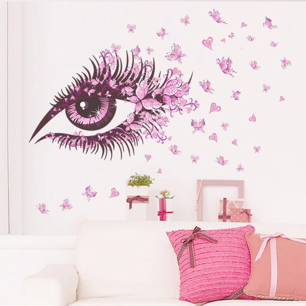 3D papier peint rose yeux papillon creative paysage mur autocollant chambre salon fille chambre TV fond peintures murales