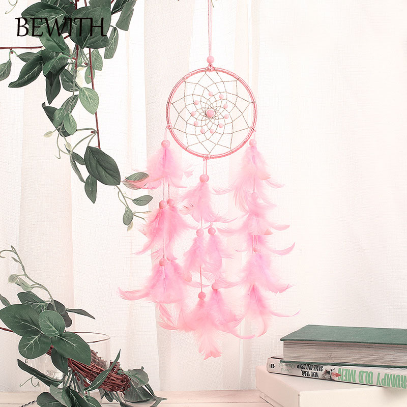 Us 3 74 25 Off Light Pink Dreamcatcher Indian Handmade Dreamcatchers Wind Chimes Home Hanging Decoration Wedding Decoration Gifts Bmw040 In Wind