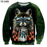 YX GIRL Brand clothing 2018 New Fashion Mens 3d Sweatshirt animal pusha hipster wolf Funny Print Men/Women Casual Sweatshirt