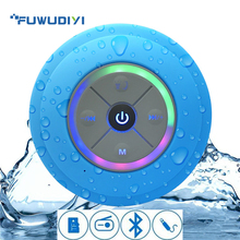 FUWUDIYI Waterproof Bluetooth Speaker LED Portable Wireless Bathroom Radio Handfree Subwoofer Audio with TF Card