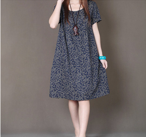 ba72dc0771027 US $16.0 |Aliexpress.com : Buy spring summer new ladies fashion loose big  size small floral print short sleeve dress women clothing casual cotton ...