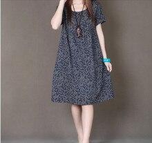 Весна-осень новые женские модные свободные большие размеры маленький цветочный принт платье с короткими рукавами женская одежда повседневная хлопковая льняная платье