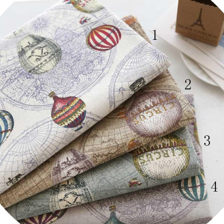 Thick linen cotton fabric travel around the world printed for Cloth world fabrics