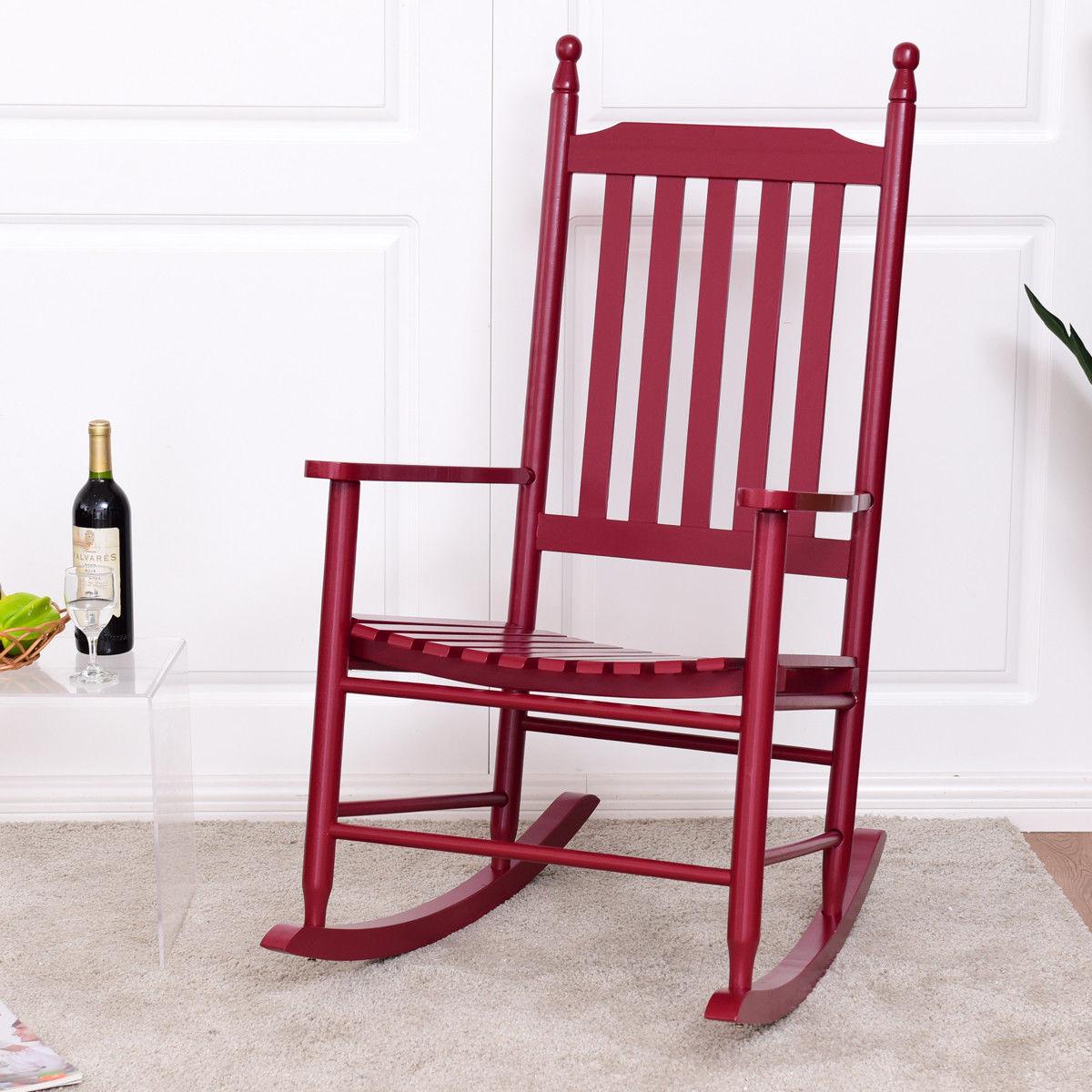 Giantex Wooden Rocking Chair Porch Rocker Modern Garden Patio Armchair Balcony Deck Garden Furniture HW56354RE