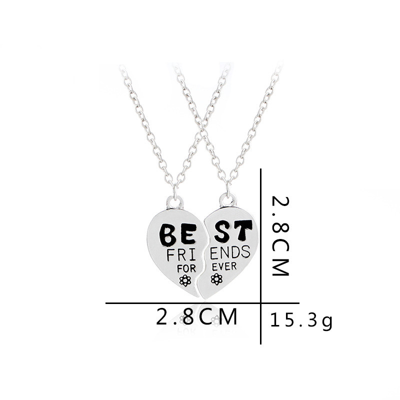 Wholesale 20setslot Best Friends Jewelry Fashion Loving Heart Shaped Pendant Necklace For Friends Gifts