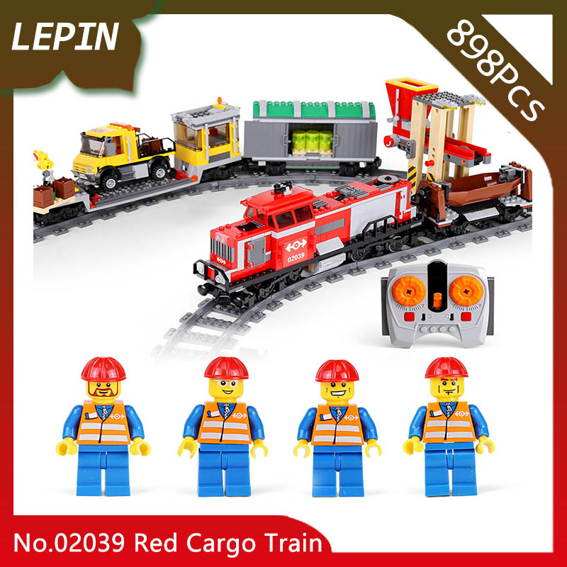 Lepin 02039 City Series 898pcs The Red Cargo Train Set Building Block Brick Educational Toys for Children gifts Compatible 3677 cargo train model block toys city rc train birthday gifts for children compatible lepin technic series building blocks set 02008