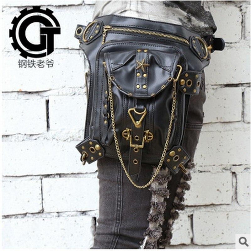 ādas sieviešu un vīriešu maisiņu maisiņi majer soma Tvaika punk ciskas Motora kājas Outlaw Pack augšstilba aizsargplēve Aizsargāts maku plecu maku