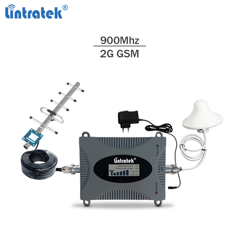 Lintratek 900Mhz GSM Signal Booster 2G Cellphone Signal Repeater 900 65dB Amplifier LCD Display Full Kit KW16L-GSM Voice Signal