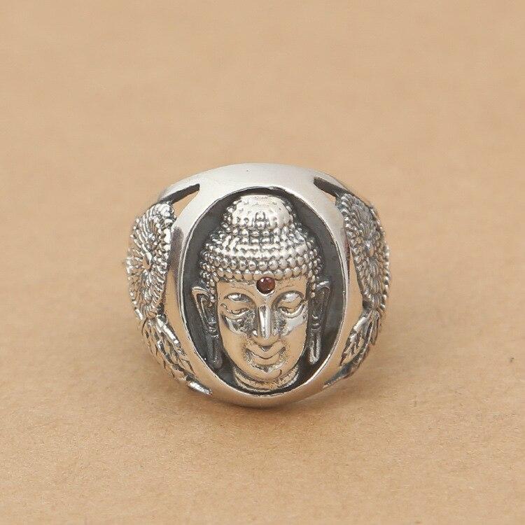 Gros S925 bague en argent Sterling de mode en argent Shakya Mani tête de bouddha Sheng Huakuan visage hommes anneau