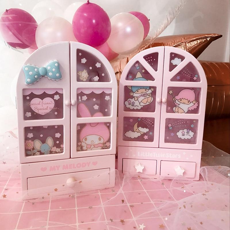 Original Japan New Cartoon Melody Little Twin Stars Wood Box Girls Home Decoration For Dolls Accessoriess