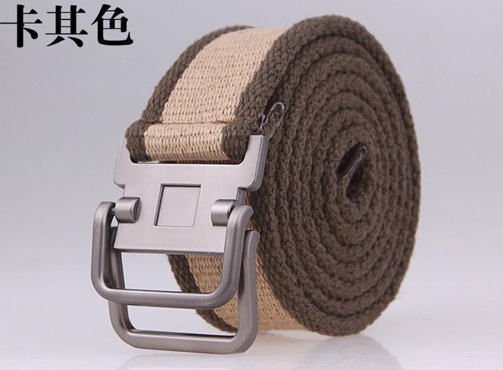 Ремни двойная пряжка-петля мужской ремень из брезентовой ткани ремень Корейская версия повседневного спорта на открытом воздухе ремень студенческий 122913
