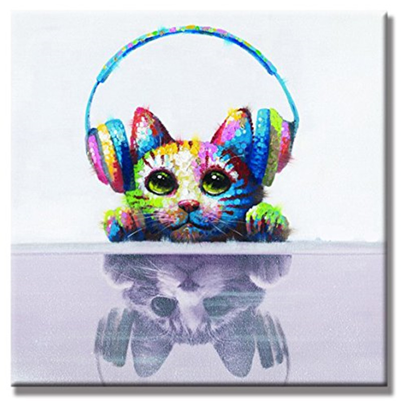 Large Handpainted Abstract Cartoon Oil Paintings On Canvas Knife Animal Headset Cat Pictures Handmade Modern Wall Painting Arts