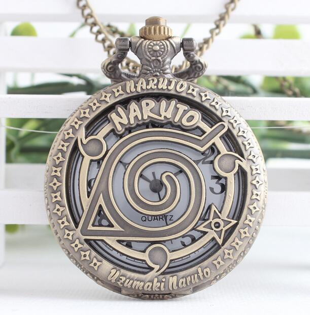 Anime Naruto Vintage Leaf Figure Pocket Watch Mens Watch With NARUTO Fans Cosplay Collectibles Toys Gifts