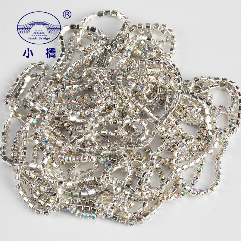 1Yard/pack Glitter Crystal Rhinestones For Clothing Loose Flatback Sew On Rhinestone Chain AB Glass Rhinestones With Claw Z200
