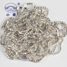 1Yard/pack Glitter Crystal Rhinestones For Clothing Loose Flatback Sew On Rhinestone Chain AB Glass Rhinestones With Claw Z200(China)