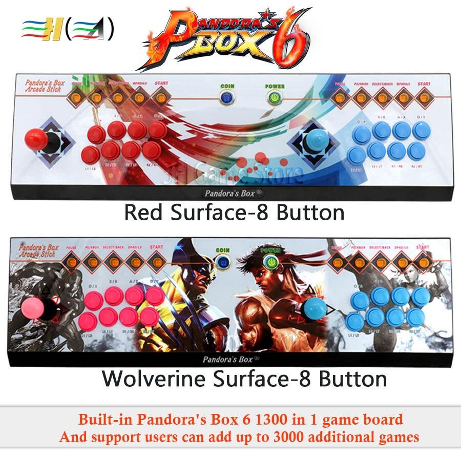 Pandora's Box 6 8 knop arcade console 1300 in 1 kan toevoegen 3000 games 2 spelers HDMI VGA usb joystick voor pc video game ps3 TV - 5