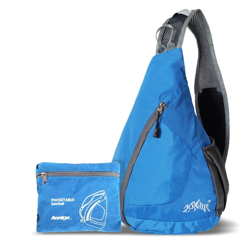 AONIJIE גברים נשים משולש מסנג 'ר תיק Ultralight מתקפל בחוץ ספורט טיולים Mountaineering כושר הכתף Crossbody Bag