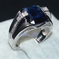Choucong Jewelry Для мужчин стерлингового серебра 925 большой 6CT Площадь синий 5A камень циркон Обручение Обручальные кольца кольцо для Для мужчин Ра...