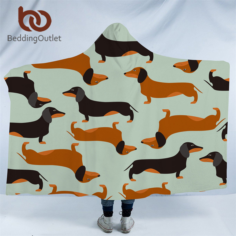BeddingOutlet Cartoon Dog Microfiber Hooded Blanket for Kids Adults Dachshund Sausage Sherpa Fleece Wearable Blanket 150cmx200cm