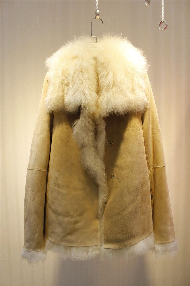 Распродажа женские зимние роскошный мех овцы поверхности Дубленки шерстяной подкладкой пальто куртки