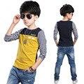 Новое поступление 100% хлопок футболки в полоску с длинным рукавом одежда мальчик топы о-образным вырезом майка тройники дети летняя одежда