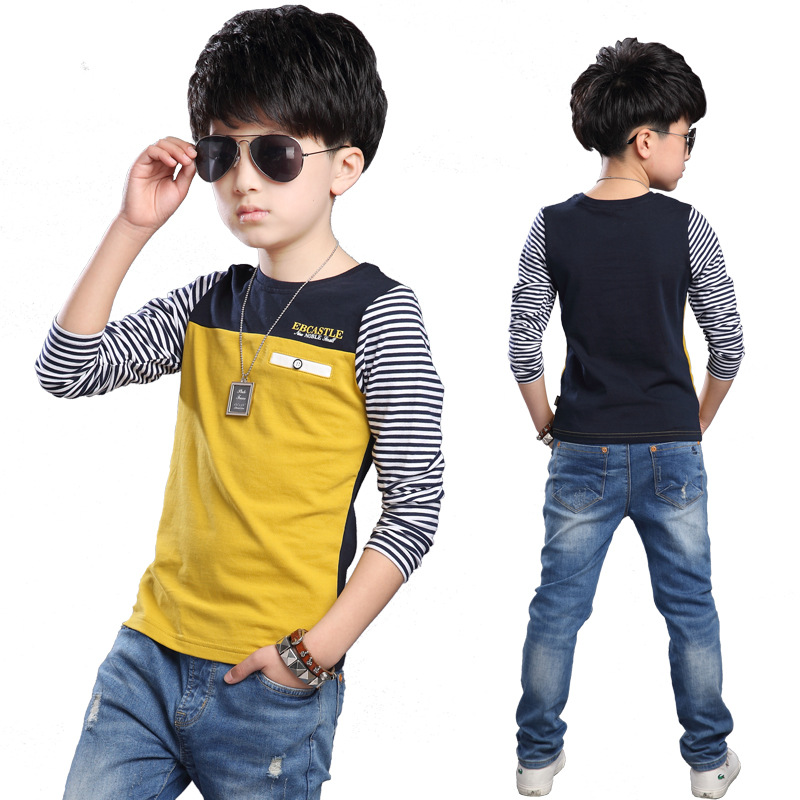 New Arrived 100% Cotton T Shirts Striped Long Sleeve Clothes Boy Kids Tops O-Neck T Shirt Tees Kids Summer Clothing lace panel long raglan sleeve striped t shirt