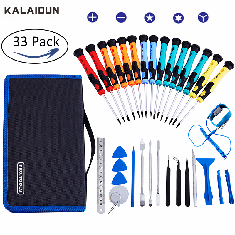 KALAIDUN 33 IN 1 Precision screwdriver set Torx Screwdriver Electronic Devices Pry Open DIY Tool Kits Phones Repair Tools Kit 100pcs pack 3 in 1 eyeglass screwdriver sunglass glasses watch repair tool kit with keychain portable screwdriver tool wholesale