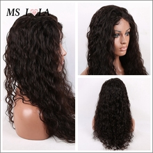 Glueless Full Lace Human Hair Wigs Wavy Lace Front Wigs Unprocessed Virgin indian Water Wave For Black Women 12-26″ In Stock
