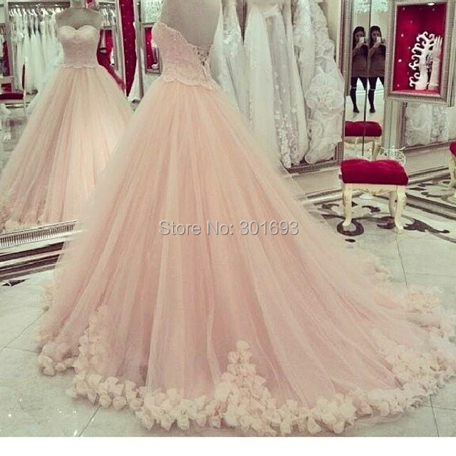 oumeiya ow157 soft tulle ball gown sweetheart lace appliqued rosettes skirt pink peach wedding dresses 2015