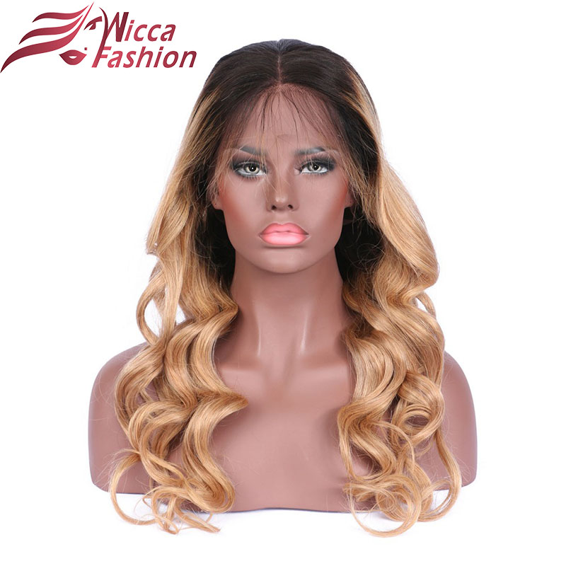 wicca fashion Ombre Full Lace Wig blonde Two Tone Full lace Human Hair Wig Glueless Human Peruvian Remy Hair Wig Lace wigs