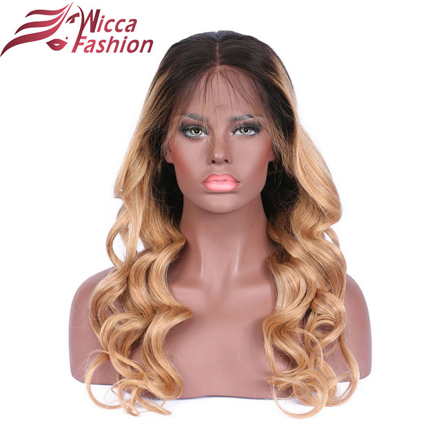 Dream Beauty Ombre  blonde Two Tone Full lace Human Hair Wig Glueless Human Peruvian Remy Hair Wig