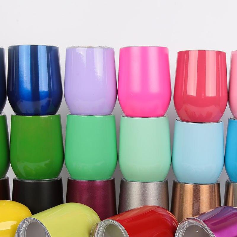 Stemless Edelstahl Wein Gläser Mit Push-Deckel 9 unze Ei Form Wein Tassen 26 Farben Wein Glas