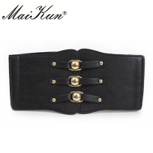 Western Elastic Leather Belts for Women  Royal Vintage Dresses Brand Designer High Quality