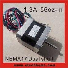 Nema17 двойной вал шагового двигателя 1.3A 62.5 унц. в длина тела 40 мм CE Rohs шаговый двигатель